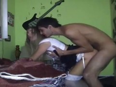 Latina babe in sexy pantyhose getting hard fuck by her boyfriend