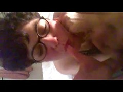 Nerdy glasses make his wife even sexier as she takes a hot facial